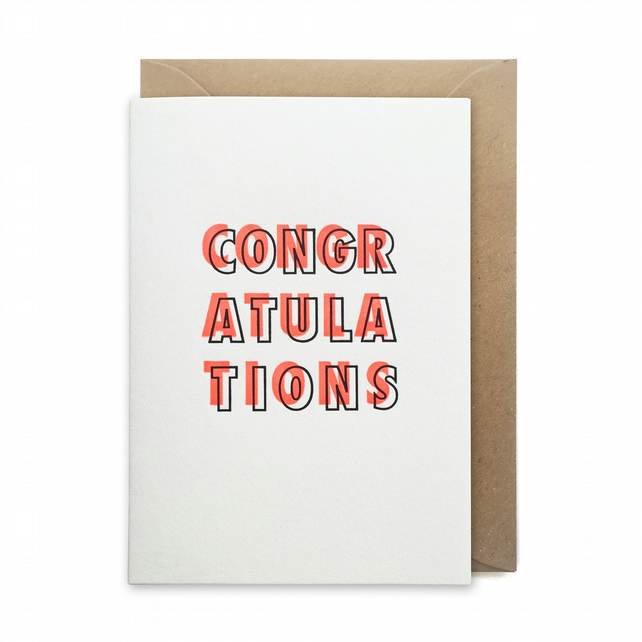 Congratulations card: letterpress, handmade - FREE UK DELIVERY