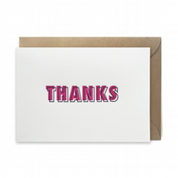 Thank you card: letterpress, handmade - FREE UK DELIVERY