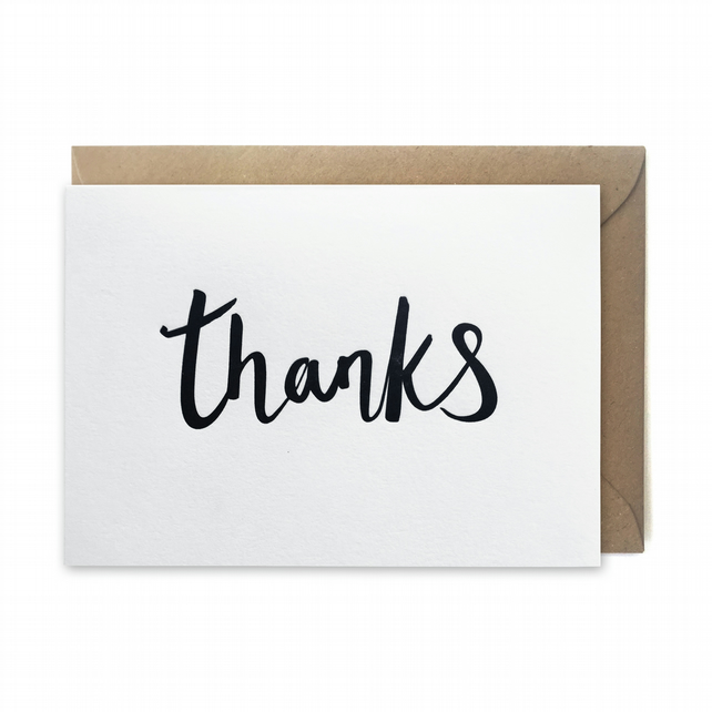 Thank you card: letterpress, handmade