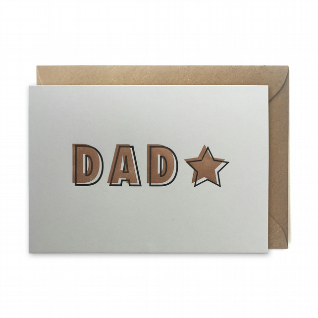 Father's day card, letterpress, handmade - DAD star - FREE UK DELIVERY