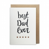 Father's day card, letterpress, handmade - Best dad ever - FREE UK DELIVERY