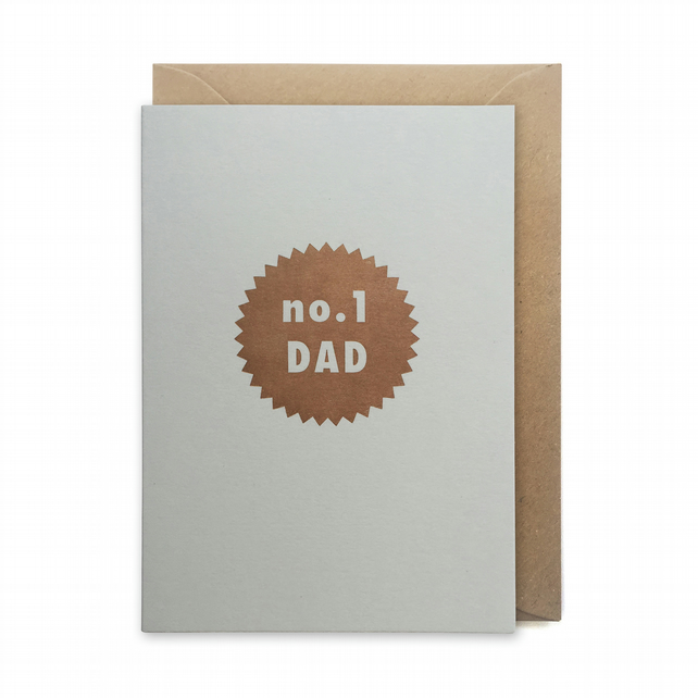 Father's day card, letterpress, handmade - No.1 dad star