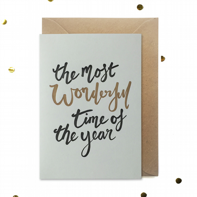 Letterpress Christmas Card: Most wonderful time of the year: FREE UK DELIVERY
