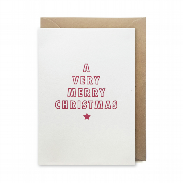 Letterpress Christmas Card: A Very Merry Christmas