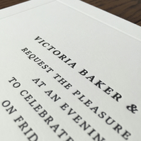 Letterpress wedding invitation stationery suite sample
