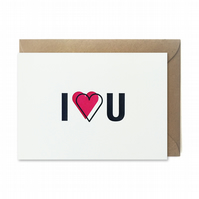 Valentines day card: Letterpress, handmade - FREE UK DELIVERY