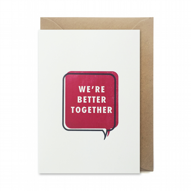 Valentines day card: Letterpress, handmade