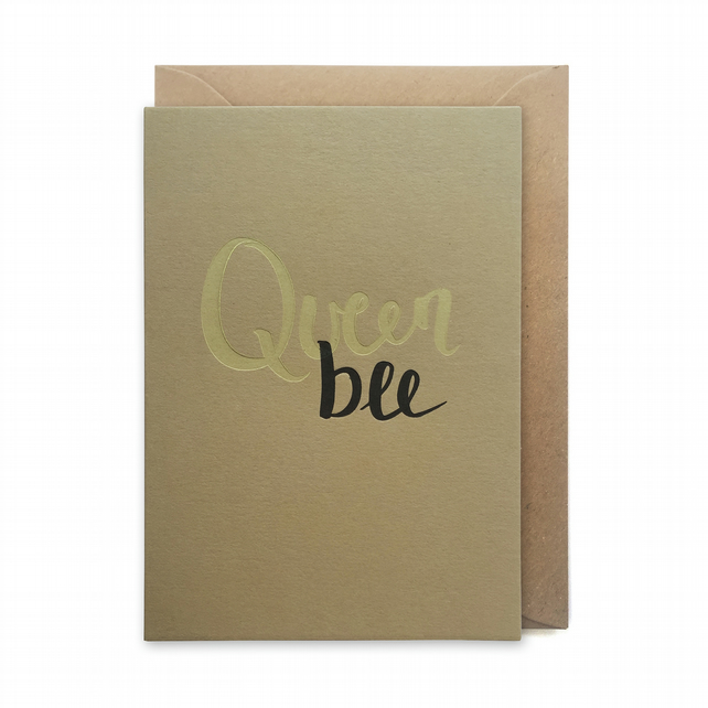 Mother's day card, letterpress, handmade - Queen bee - FREE UK DELIVERY