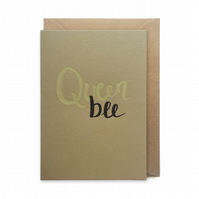 Mother's day card, letterpress, handmade - Queen bee