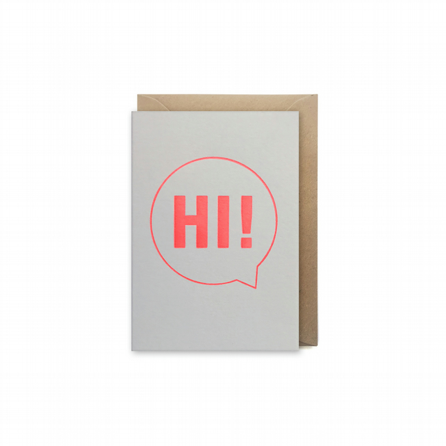 Small letterpress card - Hi! - handmade