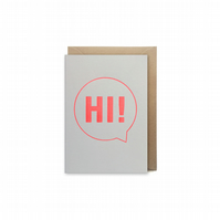 Small letterpress card - Hi! - handmade - FREE UK DELIVERY