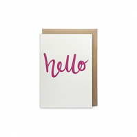 Small letterpress card - handmade - hello - FREE UK DELIVERY