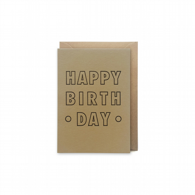 Small birthday card - letterpress card - handmade