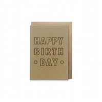 Small birthday card - letterpress card - handmade - FREE UK DELIVERY