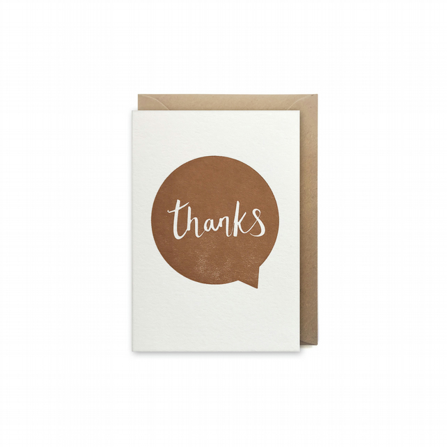 Small thank you card - letterpress card - handmade