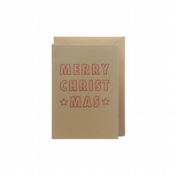 Small christmas card - letterpress card - handmade - FREE UK DELIVERY