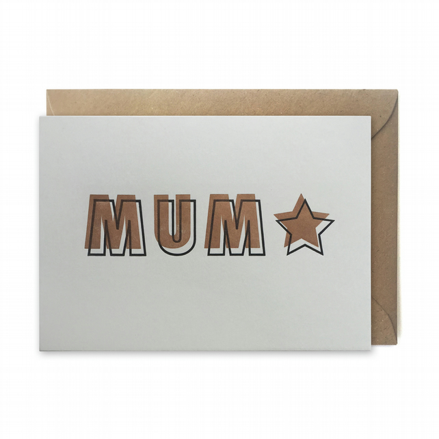 Mother's day card, letterpress, handmade - MUM star