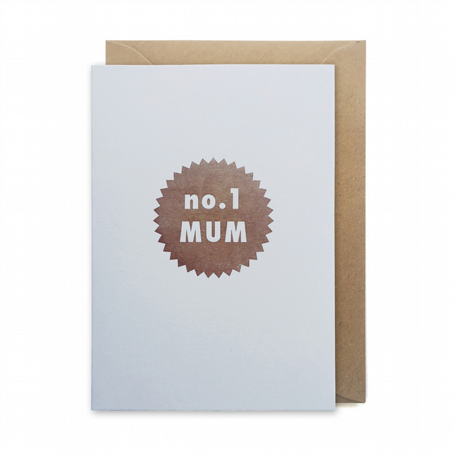 Mother's day card, letterpress, handmade - no.1 Mum star - FREE UK DELIVERY
