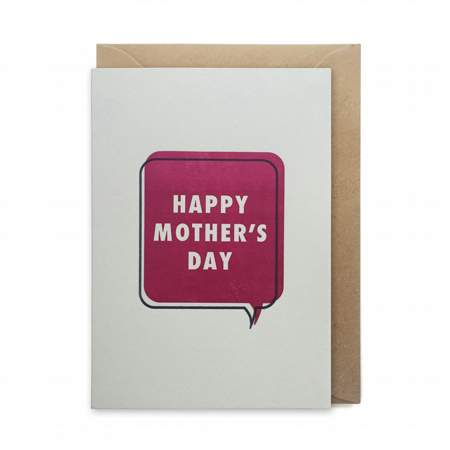 Mother's day card, letterpress, handmade - Happy Mother's day - FREE DELIVERY