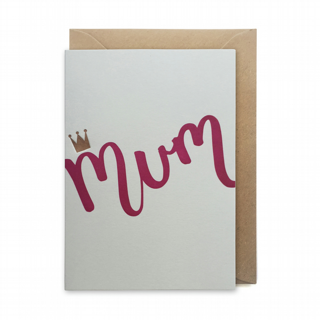 Mother's day card, letterpress, handmade - Mum