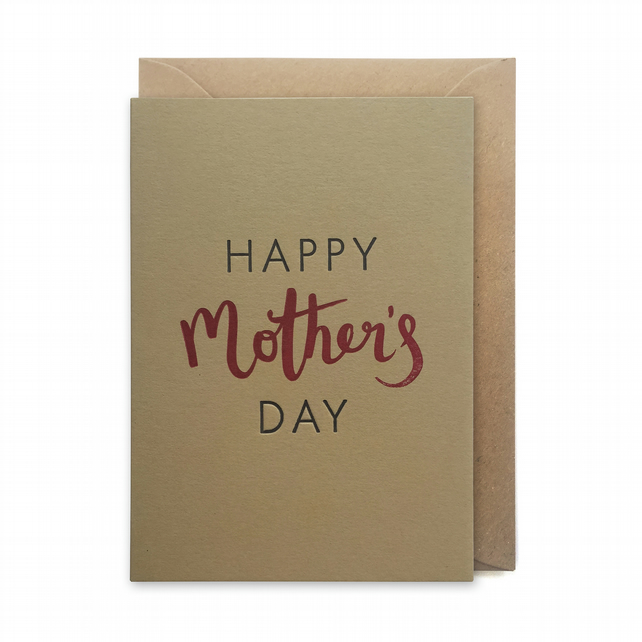 Mother's day card, letterpress, handmade - Happy Mother's day - FREE UK DELIVERY