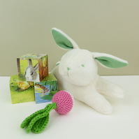 Green plush bunny rabbit  soft toy for babies and toddlers