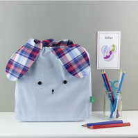 Light blue and navy and Red Tartan Japanese style bunny rabbit  bag