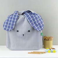 Grey and navy Japanese style bunny rabbit bag- lunch bento nursery bag