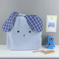 Light blue and navy Japanese style bunny rabbit lunch bento nursery bag