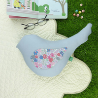 Bird shaped cushion - spring summer pastel blue grey pastel pillow