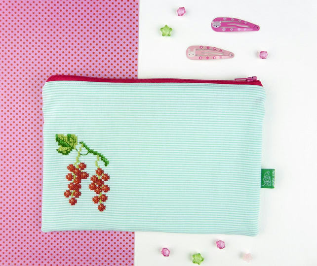 Redcurrant cross stitched zipper bag pencil case