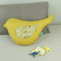 Bird shaped cushion for children's bedroom and nursery Autumn decor