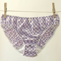 Pretty Gingham  Knickers - lilac