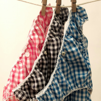 3 pairs of Lovely Handmade Knickers...Red, Navy & Turquoise