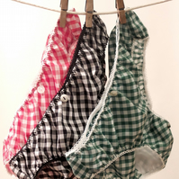3 pairs of Lovely Handmade Knickers...Red, Black & Green
