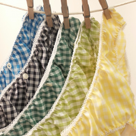 5 pairs of Lovely Handmade Knickers...Greens, Blues & Yellow