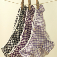 3 pairs of Lovely Handmade Knickers...Navy, Purple & Lilac