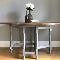 Rustic Pine Gate Leg Table - Painted Grey (delivery quote available on request)