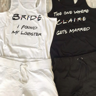 Friends Hen do pyjama Set, personalised Mrs, Bride to be, Bridal party pj's