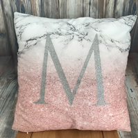 Glitter print marble effect initial cushion cover. Silver, Rose gold, gold