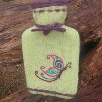 Hot water bottle cover: hand knitted with needle felted butterfly