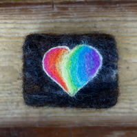 Rainbow felted soap