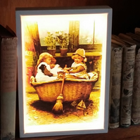 Vintage art Luminaire - quality wood frame, mains free