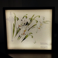 Easter greetings luminaire - vintage art print mounted on illuminated frame