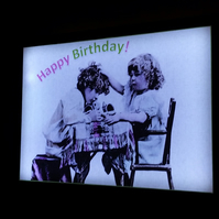 Birthday card luminaire - vintage art print mounted on illuminated frame