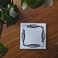 Narwhal ceramic tile coaster - stand for tableware, plant or candle
