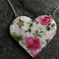 HALF PRICE SALE!! Heart shaped ROSES - porcelain on Silver chain