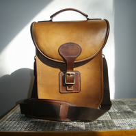 Hardback satchel, messenger bag, cross body,  veg tan leather, hand stitched
