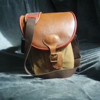 Sale: Leather waxed cotton messenger bag, slight second men's bag ladies bag