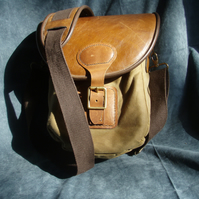Sale: Leather, waxed cotton messenger bag, slight second men's ladies bag